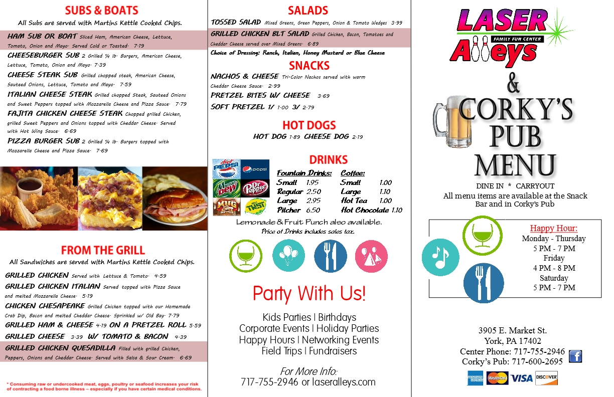 Laser 2017 Menu outside